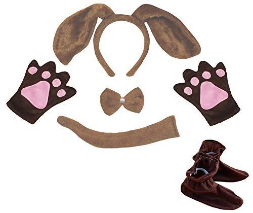 rnband Bowtie Schwanz Handschuhe Schuhe Kinder 5pc Kostüm Einheitsgröße Brauner Hund ()