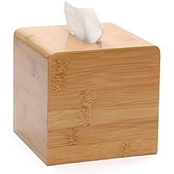 kamierfa Sauare Cubo decorativa Beige bambú Cover/rellenable Cocina de madera-Servilletero (& Dispensador de toallitas faciales