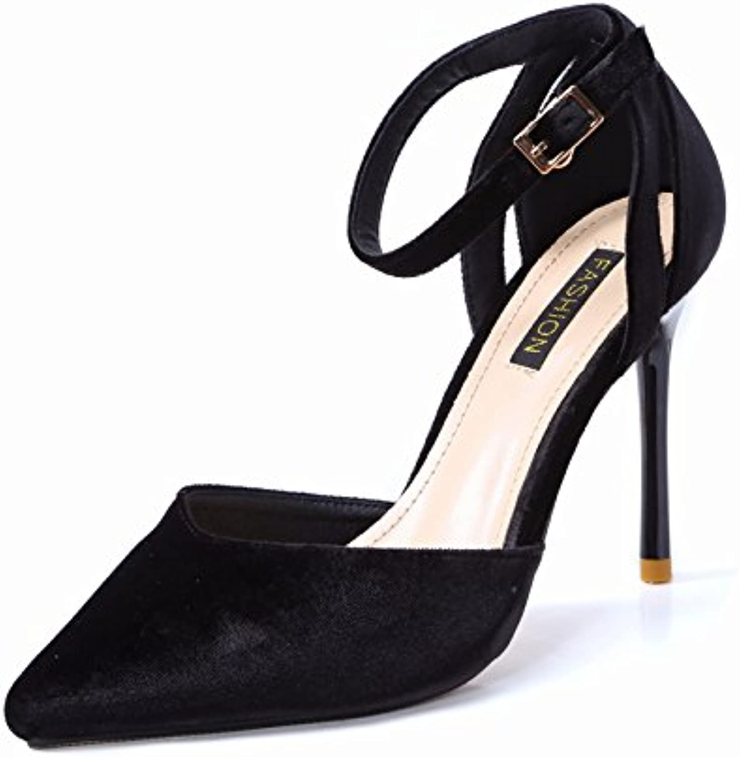 LGK&FA Elegant Elegant Apricot Buckles Hollow Pointed Pointed High Heeled Shoes Simple Suede Fine Shoes Ladies...