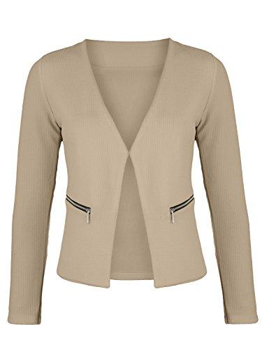 Damen Blazer mit Taschen ( 382 ), Farbe:Beige, Kostüme & Blazer für Damen:40 / L Beige Damen-jacke