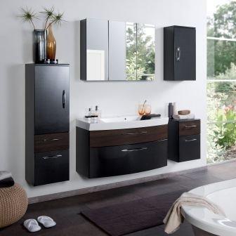 #Badmöbel Set Badezimmermöbel PARIS Komplett Set Waschbeckenschrank mit Waschtisch und beleuchtetem Spiegelschrank LED in Anthrazit Eiche dunkel#
