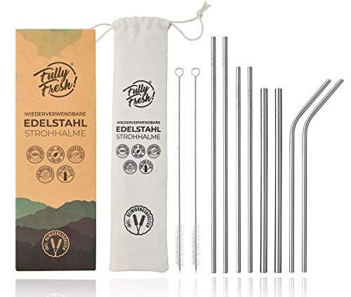 Fully Fresh! Premium | Strohhalm Edelstahl 8er Set (BPA-frei) | inkl. 40 Smoothie Rezepten, Bürsten & ECO-Beutel | rostfreie & Wiederverwendbare Metall Trinkhalme, Trinkrohr | für Cocktail & Smoothie