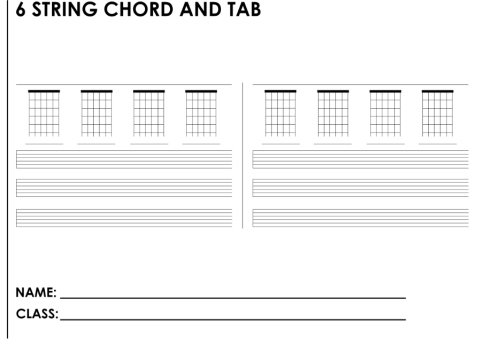 6 String Chord And Tab: A Student Manuscript Notebook From Fusello Publishing