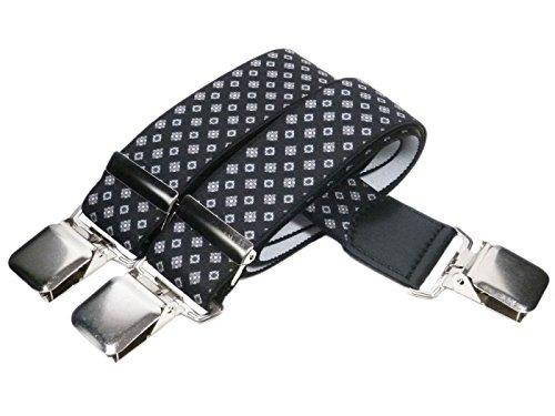Unisex Bretelle regolabili, Extra Forte Y-Forma con Stampato Modelli, 4cm larghezza - Nero con Argento Modellato Diamanti