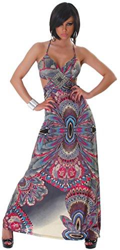 Panacher robe femme-dos extra long avec paillettes le dekolletè taille 32–36 Rose - Rose bonbon