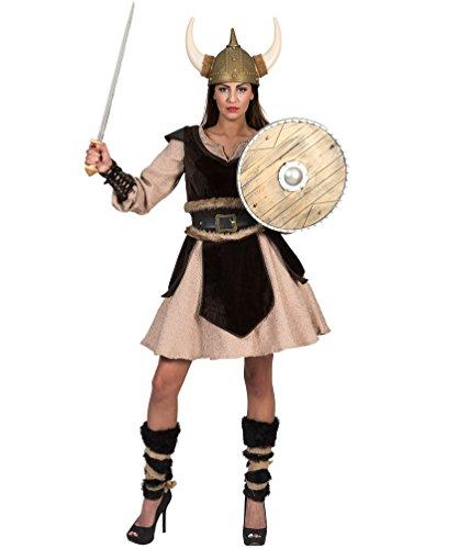 Karneval-Klamotten Wikinger-Kostüm Damen Sexy Nordmann-Kostüm Luxus mit Bein-Stulpen Damen-Kostüm Größe 36/38 (Wikinger Damen Kostüm)