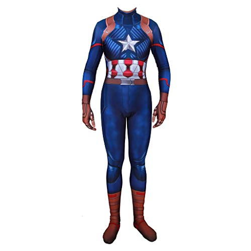 SDKHIN Capitan America Costume Cosplay Tuta Playsuit Calzamaglia Bambino Adulto Tema Party Puntelli Halloween Carnevale Notte Masquerade Cosplay,Blue-adultXXL
