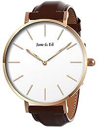 June & Ed Cuarzo Acero Inoxidable Correa Reloj de pulsera para Hombre con la ventana del dial de cristal de zafiro W-0060