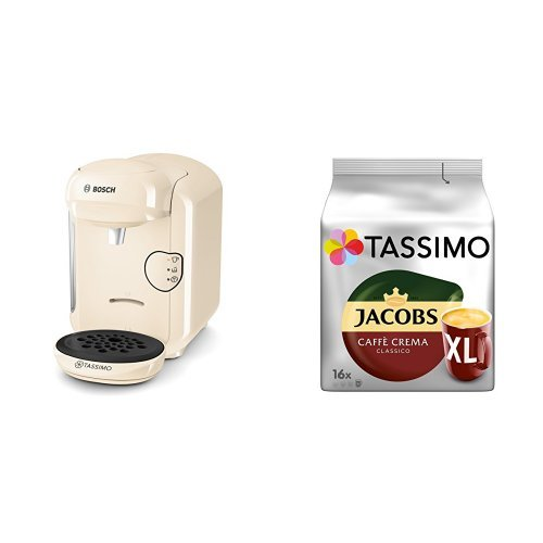 Bosch Tassimo TAS1407 Kapselmaschine + Tassimo Jacobs Caffè Crema Classico XL, 5er Pack Kaffee T...