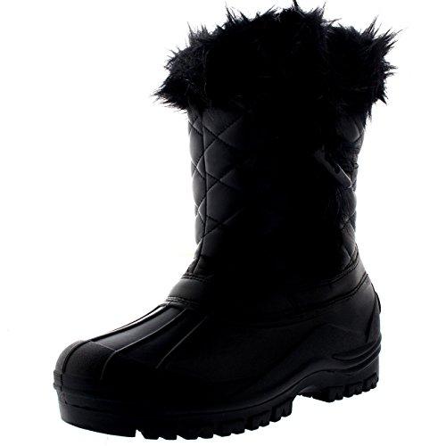 Polar Donna Toggle Anatra Inverno Termico La Suola In Gomma La Neve Impermeabile Metà Polpaccio Stivali - Nero Pelle - UK7/EU40 - YC0399
