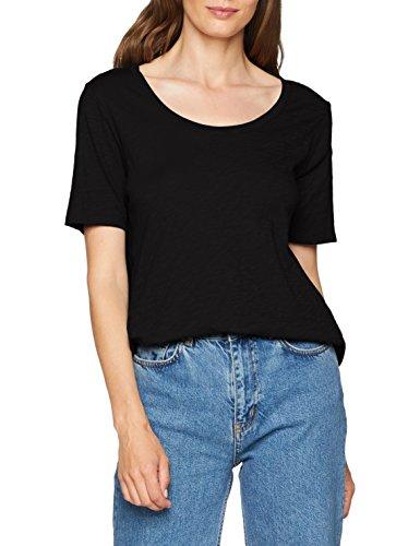 Eddie Bauer Damen Essential Longshirt-Weiches Kurzarmshirt aus Slub-Jersey-Baumwolle mit weitem Rundhalsausschnitt-Uni-XS-XXL T-Shirt, (Schwarz 100), Medium -