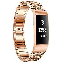 Hunpta@ Uhrenarmband für Fitbit Charge 3, Uhrenarmbänder für Armband Edelstahl Diamantersatz
