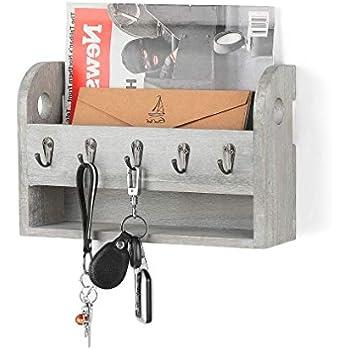 12 Schl/üsselhaken flexibel positionierbar Unbekannt Schl/üsselbrett mit Ablage aus Holz Handarbeit aus Deutschland Grau