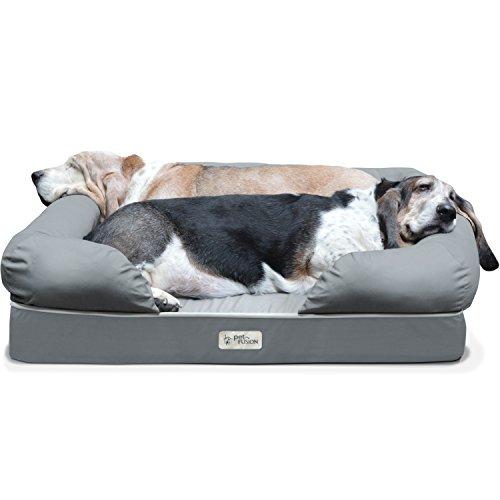 PetFusion Hundebett und -Lounge. Premium Edition aus stabilem Kaltschaum mit Memory-Effekt (Grau, 92 x 71 x 23 cm) - [Ersatzbezüge erhältlich]