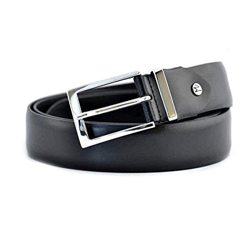 Cintura Fabrizio Mancini da uomo in pelle nera, morsetto svitabile che rende la cintura accorciabile, scatola regalo e fibbia in acciaio. Prodotto interamente made in Italy