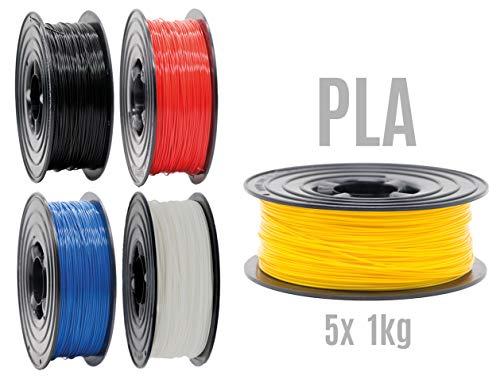 PLA Filament 3D Drucker 1,75mm / 5x 1kg Rolle 5 Farben 5er Set (5Kg) für 3D Printer oder Stift