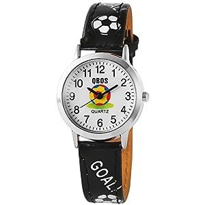 QBOS Analog Armbanduhr für Kinder und Jugendliche mit Quarzwerk RP4822100005 Metallgehäuse mit Kunstlederarmband Schwarz und Dornschließe Ziffernblatt Weiß Bandgesamtlänge 20cm Bandbreite 14mm