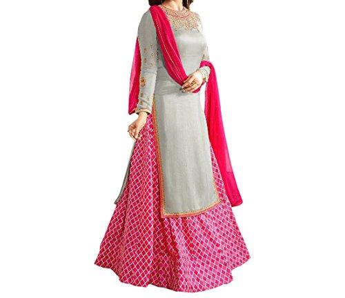 Ethnic Yard Semi-Stitched Free Size Japan Crepe Indo-Western Sharara Suit (Grey,Pink)