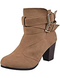 Botines de Tacones Bajos, Holacha Botas Corta de Cuero Cinturón Hebilla Martin Zapatos Otoño Invierno para Mujeres