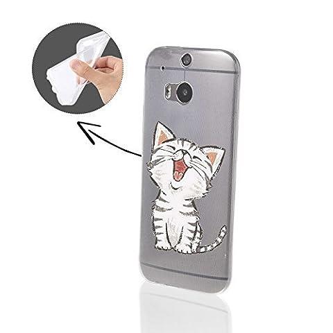 FINOO   HTC One M8 Weiche flexible Silikon-Handy-Hülle   Transparente TPU Cover Schale mit Motiv Muster   Tasche Case mit Ultra Slim Rundum-schutz   stoßfestes dünnes Bumper Etui   Kleine