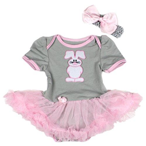 Gray Bodysuit Pink Girl Baby Dress Skirt Set Nb-18m (0-3 Monat) (Bunny-kostüme Für Babys)