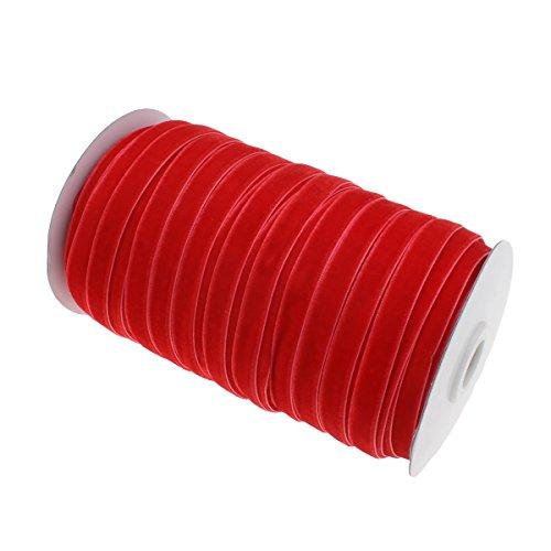 Perlin 10 Meter Samtband 10mm Samtborte Schmuckband Schleifenband Zierband Zierborte Borte Band (Rot)