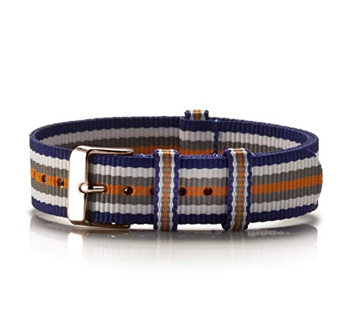 NATO Armband Textil Colorido blau-weiß-grau-orange Kupfer