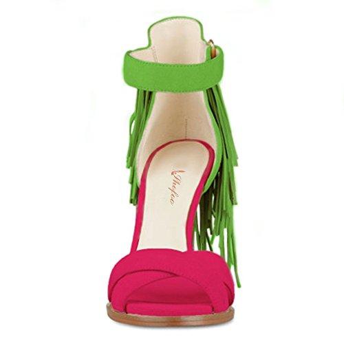SHOFOO - Femmes - Stiletto - Cuir de daim synthétique - Franges - Jaune ou Rose ou Violet - Talon aiguille - Bout rond ouvert Rose