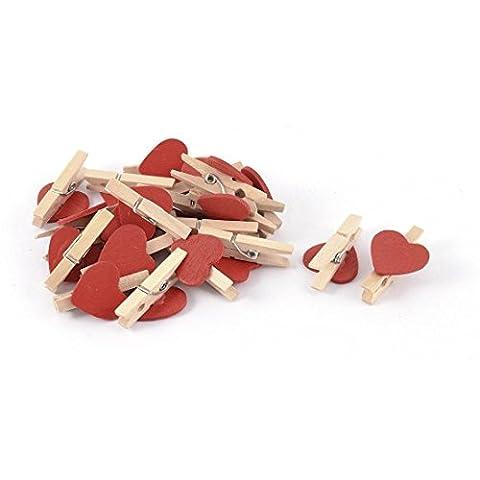 KRAFTZ® - Mini Love Heart Shape Wooden Clips Message Photo Holder Album Card Paper Pegs Decor Photography - Red 20