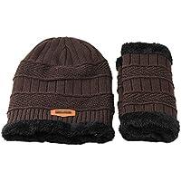 BLACK ELL 2 Unidades Conjuntos de Cuello Sombreros Hombres Lana de Invierno Sombrero de esquí al Aire LibreCabeza con Capucha Gorro Orejeras Cabeza C, 3