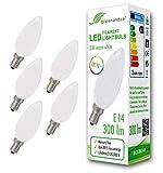5x greenandco CRI90+ LED Lampe ersetzt 28 Watt E14 Kerze matt, 3W 300 Lumen 2700K warmweiß Filament Fadenlampe 360° 230V AC nur Glas, nicht dimmbar, flimmerfrei, 2 Jahre Garantie