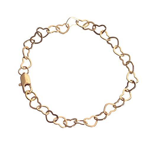 Qinlee Männer Armband Herz to Herz form Dicke Kette Damen Mode Armbänder Gold 21cm