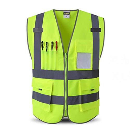 FSAQBX FS Reflektierende Weste, BAU-Mehrfach-Sicherheitskleidung, Hygieneverkehrs-Reitweste, Hohe Sichtbarkeit (Color : Fluorescent Yellow, Size : XL)