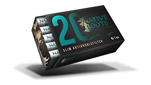 Native Roots 2 x 20 Slim Aktivkohlefilter | Joint Filter | Bester Geschmack | 7mm