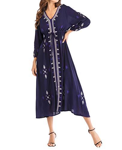 Marokkanische Kostüm Frauen - zhbotaolang Frauen Muslim Stickerei Retro Kleid - Arabische Islamische Marokkanische Kaftan Beiläufiges Kostüm