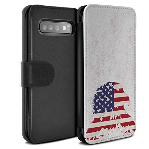 eSwish PU-Leder Hülle/Case/Tasche/Cover für Samsung Galaxy S10 / Stars & Stripes American Eagle Muster/USA Amerika Stolz Kollektion -