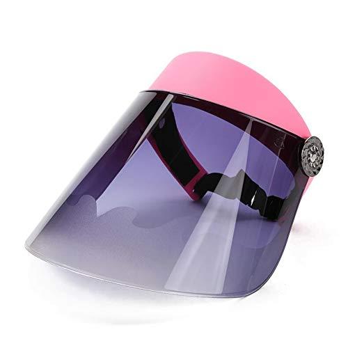 DALL Sonnenhüte Frauen Visier Hut Einstellbarer Winkel Getönte Transparente Abdeckung Breite Krempe UV-Schutz (Farbe : Rosa, größe : One Size)