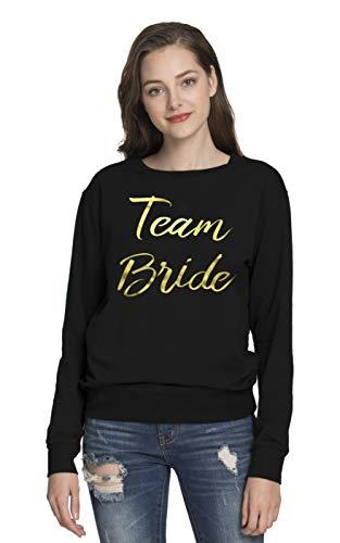 PINJIA Mujers La Novia Mujer T-Shirt Tops Sudaderas sin Capucha(Sweater L,Black Team Bride)