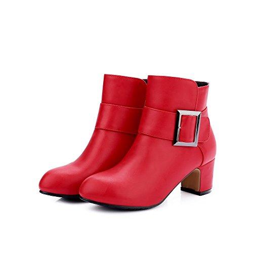 VogueZone009 Donna Puro Tacco Medio Punta Tonda Tirare Stivali con Metallo Rosso
