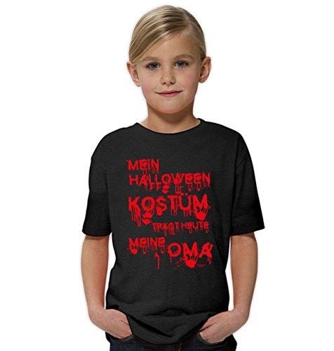 der-Halloween-Fun-T-Shirt als Geschenke-Idee Motiv: Mein Halloween Kostüm trägt Heute Meine Oma Farbe: Schwarz Gr: 122/128 (Mädchen Zombie Halloween Kostüm Ideen)
