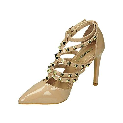 67e8f5f6a61a ... Damen Riemchen Abend Sandaletten High Heels Pumps Slingbacks Lack Peep  Toes Party Schuhe Bequem 38 Beige