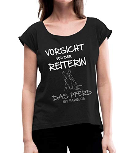 Vorsicht Vor Der Reiterin Pferd Ist Harmlos Frauen T-Shirt mit gerollten Ärmeln, M (38), Schwarz