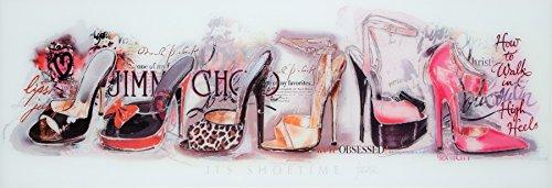 Your-Homestyle Glasbild/Wandbild SHOETIME - 33cm x 95cm - inkl. Aufhängungen - Moderne Dekoration -...