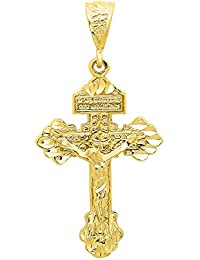 Pendant Gold-Plated and Zirconium Oxide Cross Rhinestones, Shining with White-For Men Women Unisex