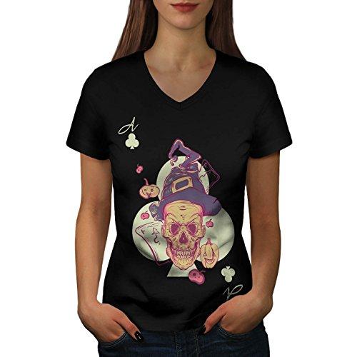 Schädel Damen M V-Ausschnitt T-shirt | Wellcoda (Damen Halloween T-shirts-ziel)