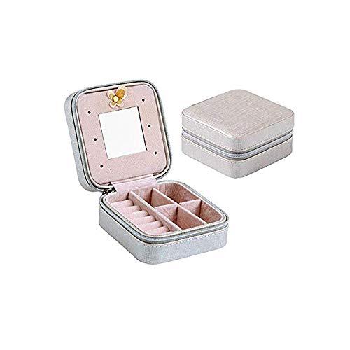 chatulle Kosmetik Make-up Schmuckkästchen Reisen Ohrringe Halskette Verpackung Tasche Container Fall Halter Schmuck Box Organizer Portable,Silber ()