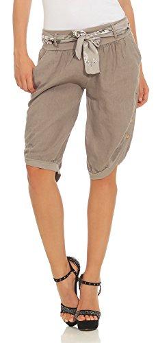 Mississhop 281 Damen Capri 100% Leinen Bermuda lockere Kurze Hose Freizeithose Shorts mit Gürtel und Knöpfen Fango XL
