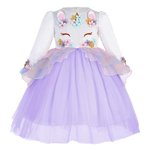 180dd46c7 IWEMEK Princesa Bebé Niña Vestido Unicornio Cumpleaños Disfraz de ...