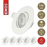 Emos LED Einbaustrahler 50° schwenkbar, Set mit 6 Stück Spots rund, 5W / 450lm / warmweiß 3000k, ultra-flache LED Modul Einbauleuchten für Innen, Farbe weiß