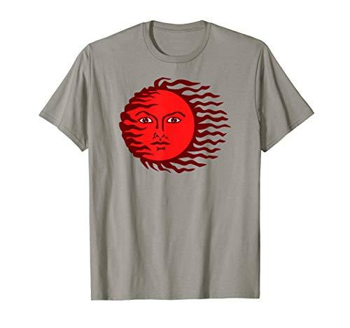 Sonnengesicht Rote Sonne Gesicht Portrait Böse Illustration